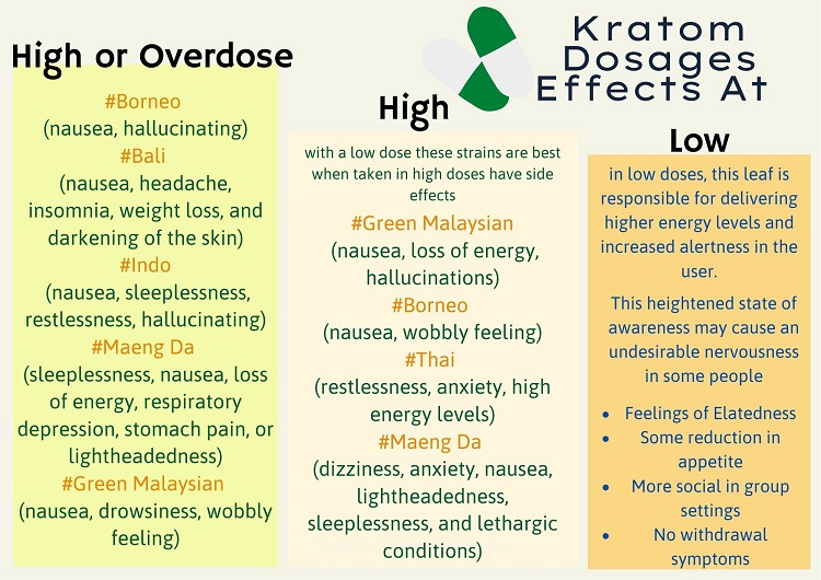 Kratom Dosages Effects